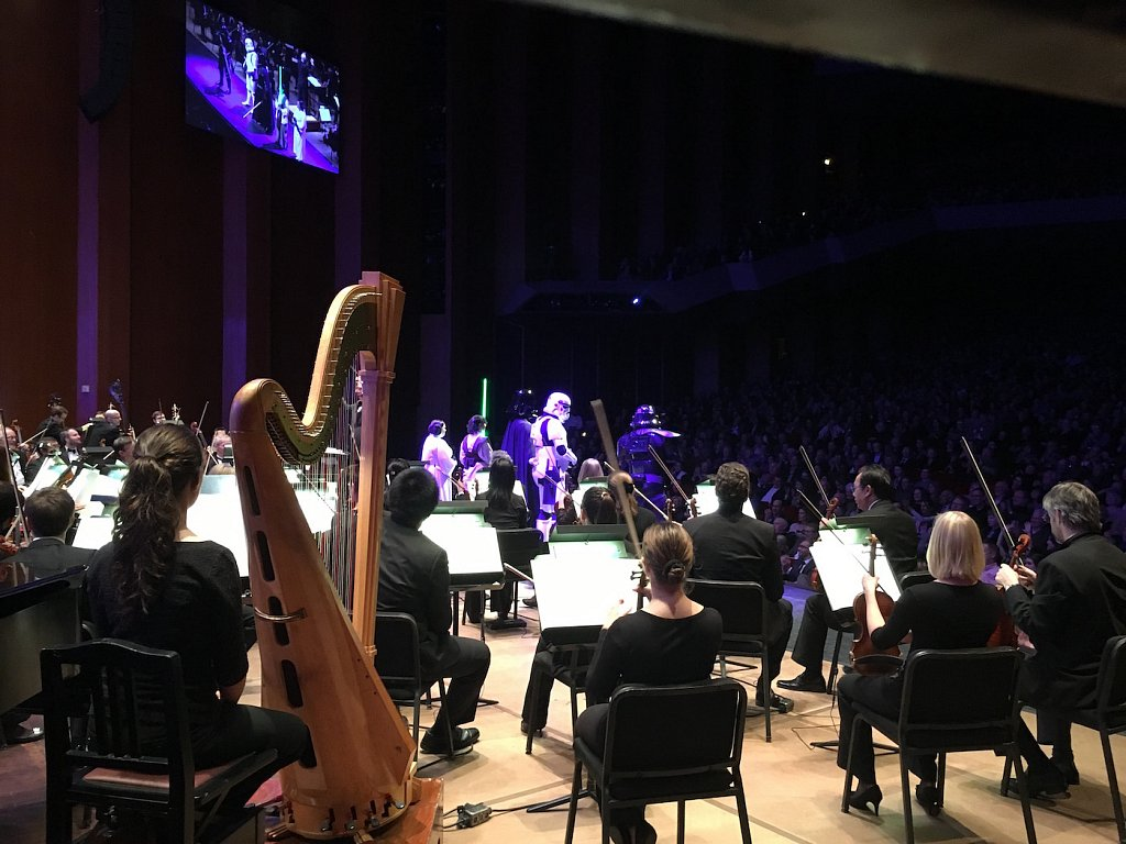 Got to go on stage during the finale of the Houston Symphony's John Williams Tribute night. Totally awesome to hear the symphony from behind the curtains on stage.