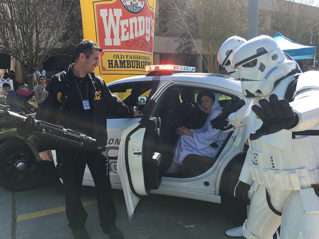 Arrested that traitor Princess Leia, and had her put in the back seat of the cruiser.