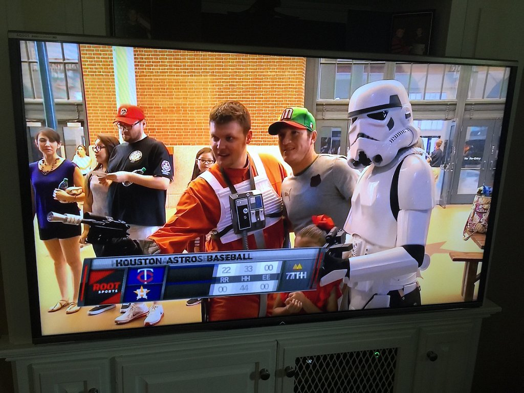 Star Wars Day with the Houston Astros. My parents actually caught me on TV taking pics with fans and sent me the pic. I got to go out on the field, and even ride around in the back of the pickup with the cheerleaders, throwing out t-shirts to the crowd.