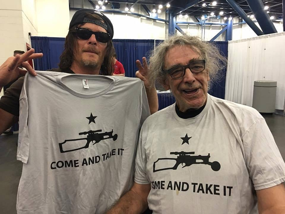 Met Peter Mayhew (Chewbacca), and he was wearing the custom shirt that I had made for him. Norman Reedus (The Walking Dead, Boondock Saints) thought the shirt was cool since it was crossbow-related, so I brought one for him too!
