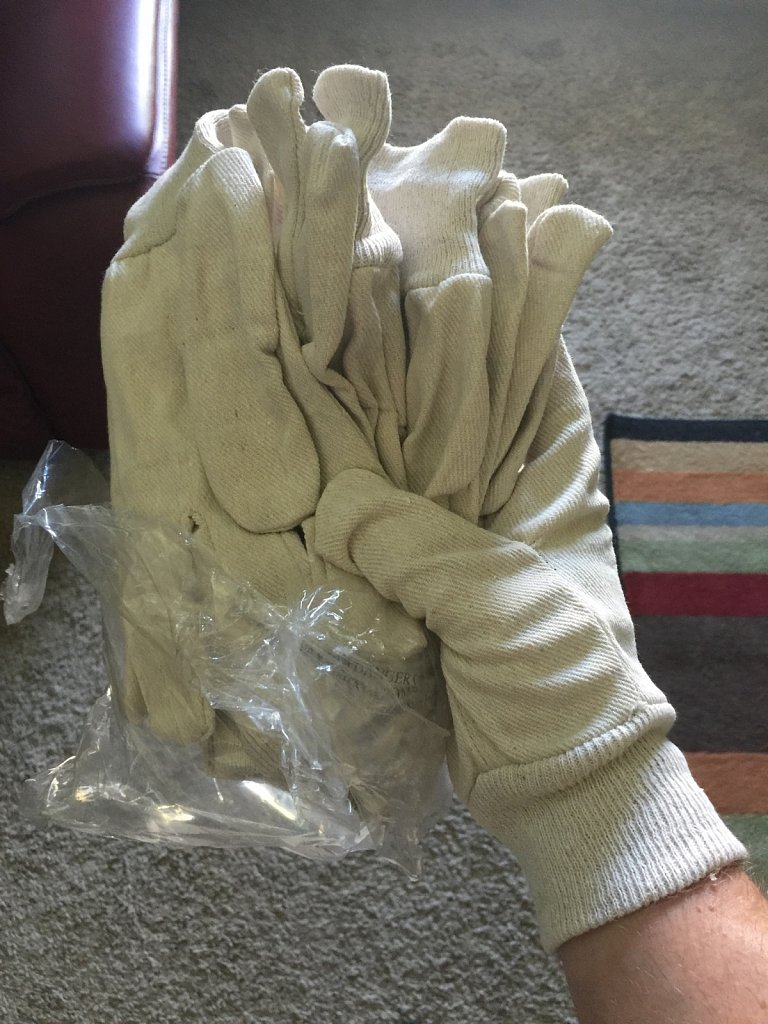 Cheap canvas gardening gloves are movie-correct