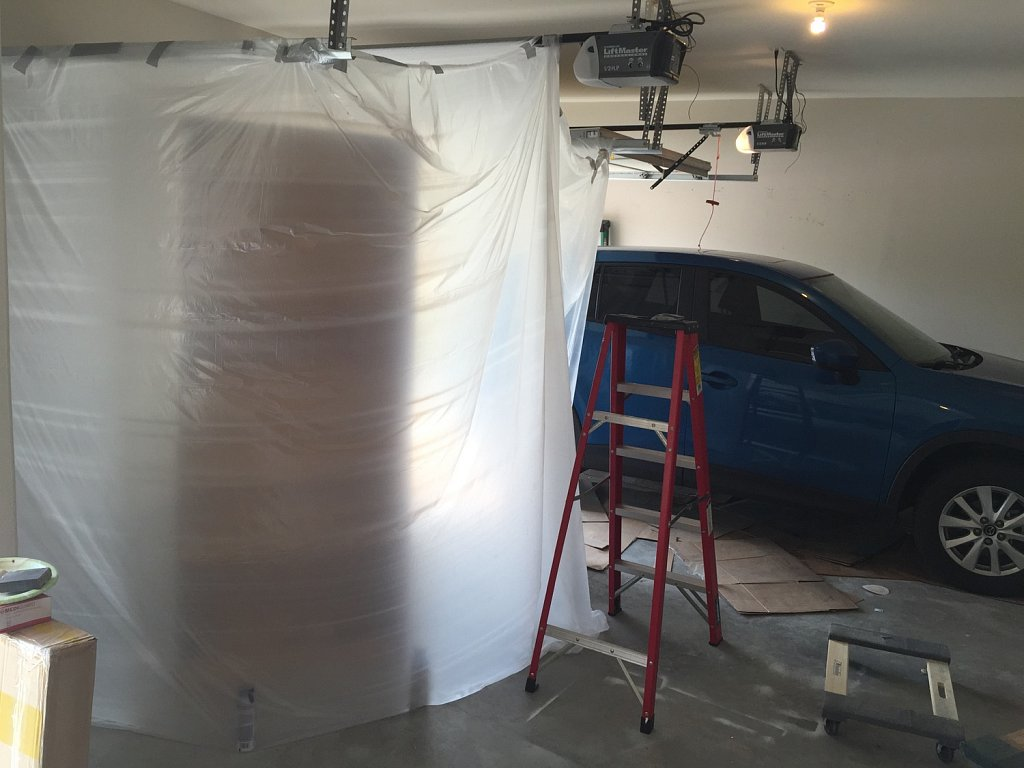 Makeshift paint booth