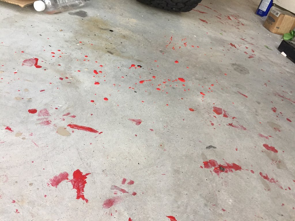 My garage floor looks like Dexter got a bit careless