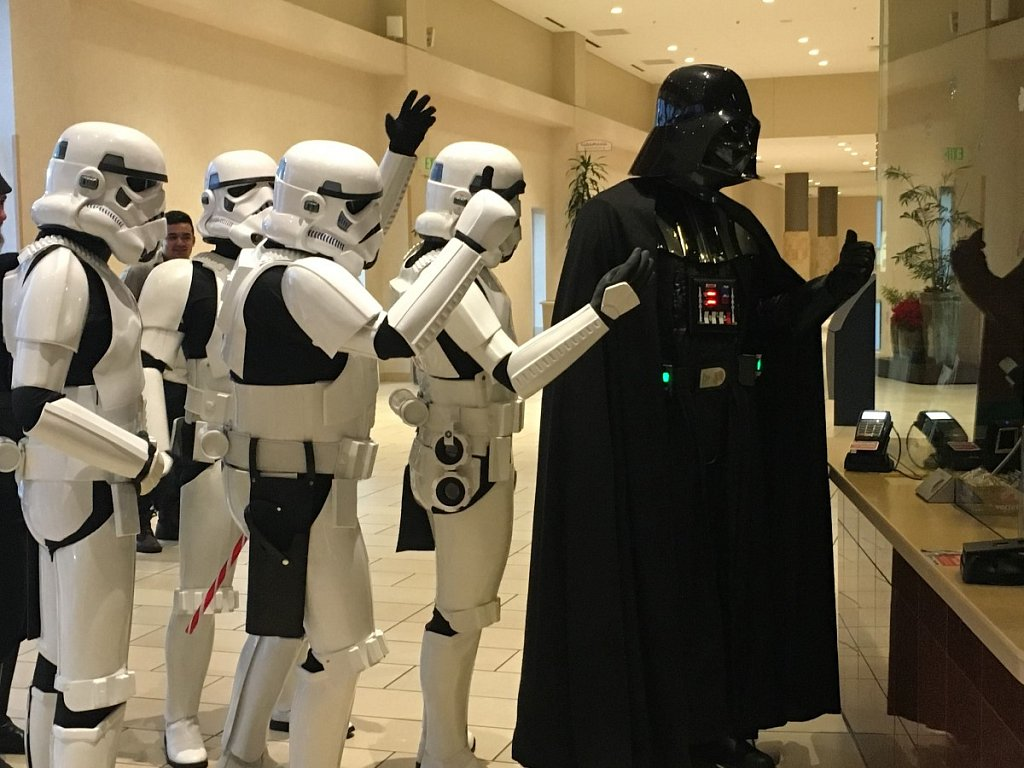 Me as Vader, buying movie tickets for my crew. Memorial City Mall, Houston TX