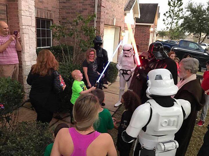 Bringing Christmas gifts to Nicky in a surprise housecall. After a 14mo battle with brain cancer, Nicky became one with the Force on June 4, 2017.
